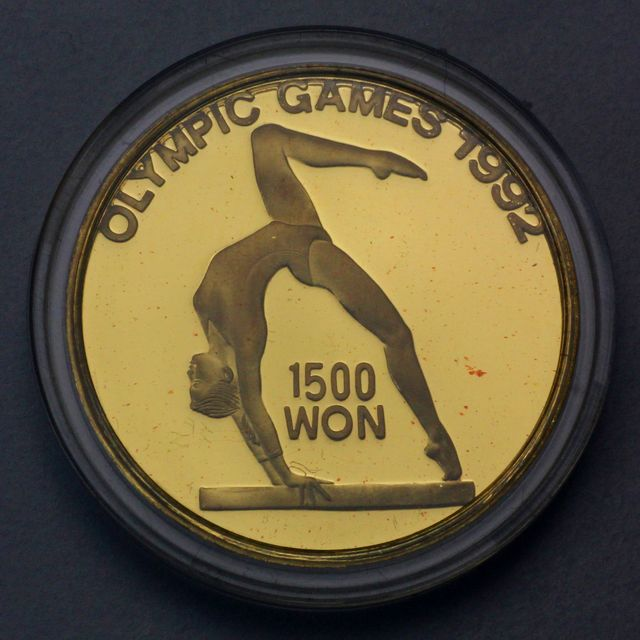 1500 Won Goldmünze Nord Korea 1992 Olympic Games 8g 999er Gold 1990