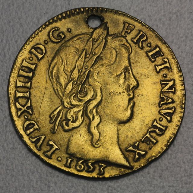1 Louis d'or Goldmünze 1653 Louis XIV