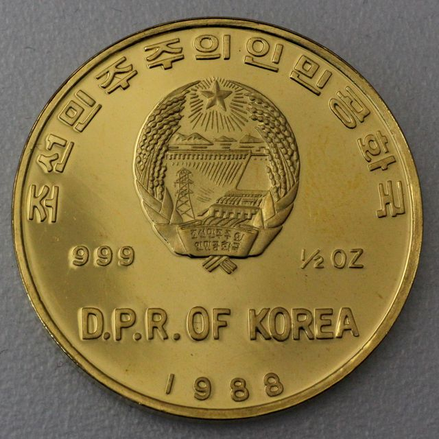 2500 Won Goldmünze Nord-Korea 1988