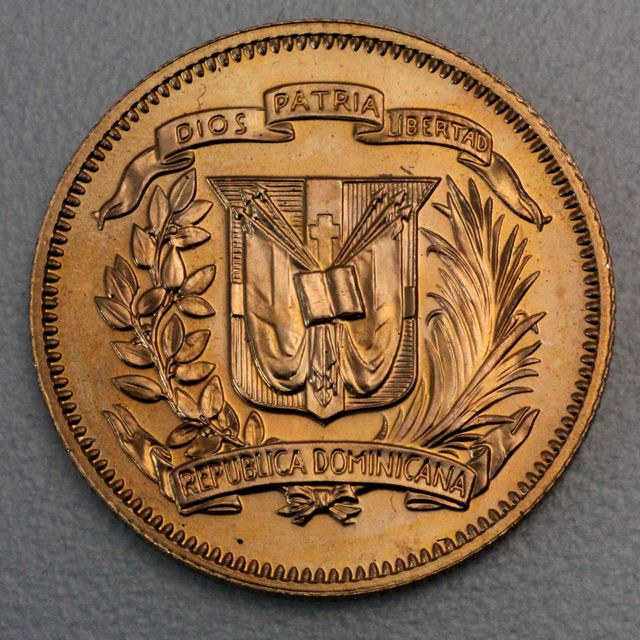 30 Pesos Goldmünze Dominikanische Republik 1974