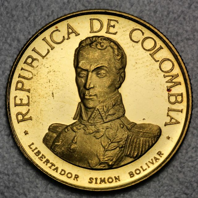 100 Pesos Goldmünze Columbien Republica Colombia Simon Bolivar 1969