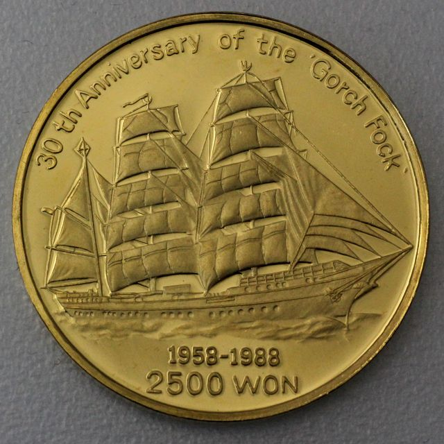 2500 Won Goldmünze Gorch Fock Nord-Korea 1988