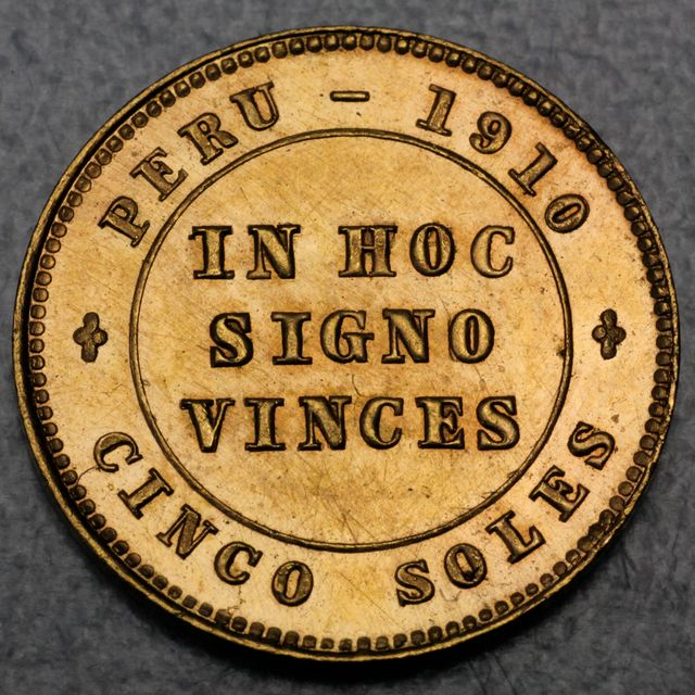 5 Soles  Goldmünze Peru In Hoc Sifno Vinces 1910 Obolo Popular Patriotico