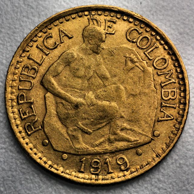 5 Pesos Goldmünze Columbien Cinco Pesos Republica Colombia 1919