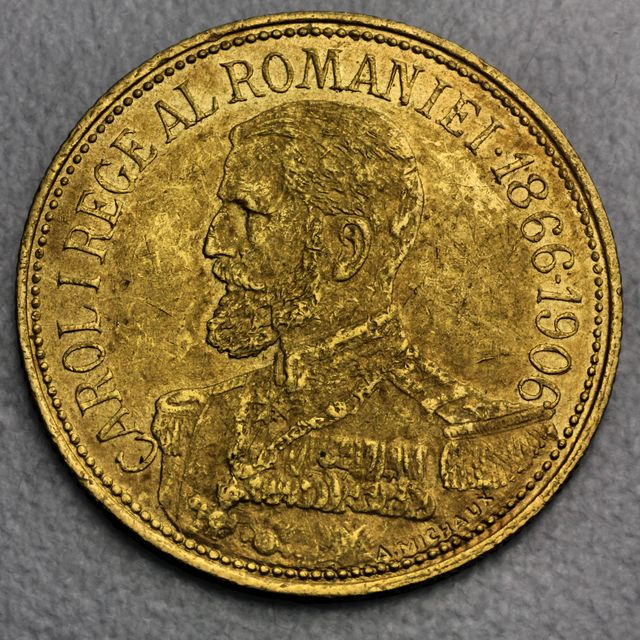 12 1/2 Lei Goldmünze Romania 1906 Carl I