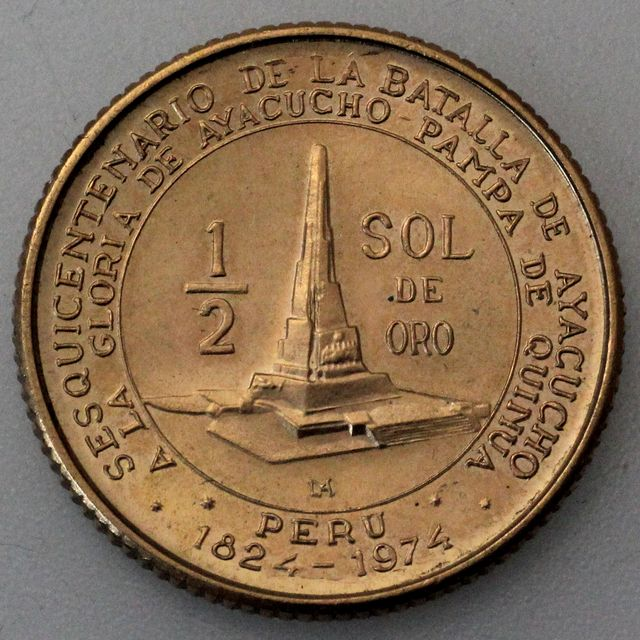 1/2 Sol Goldmünze Peru 1976