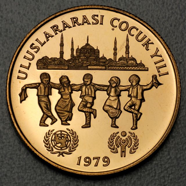 10000 Lira Goldmünze Türkei 1979 Unicef Year of the child - Jahr des Kindes