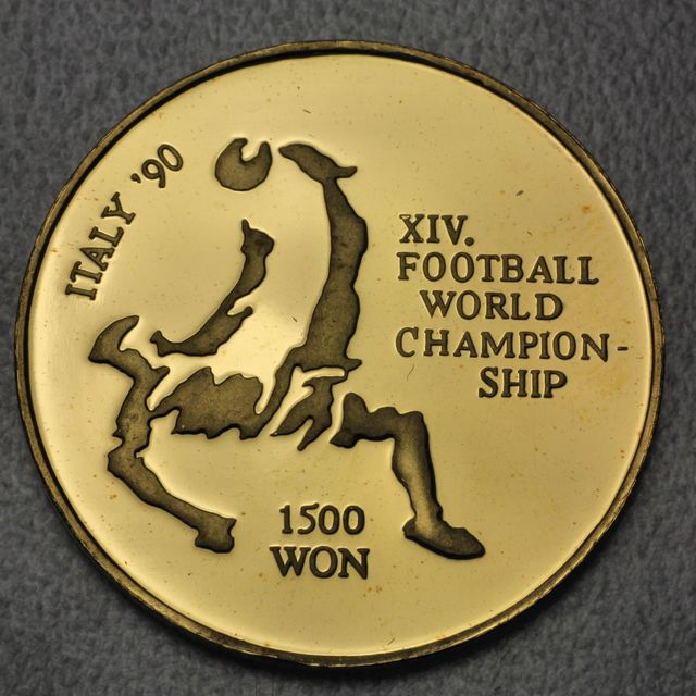 1500 Won Goldmünze Nord Korea 1991 Fussball WM Italien (Italy '90) 8g 999er Gold