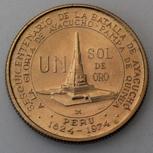1 Sol Goldmünze Peru 1976