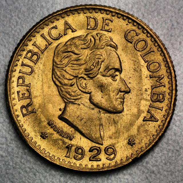 5 Pesos Goldmünze Columbien Cinco Pesos Republica Colombia Simon Bolivar 1929