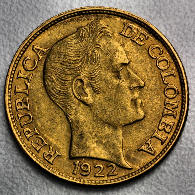 5 Pesos Goldmünze Columbien Cinco Pesos Republica Colombia Simon Bolivar 1922