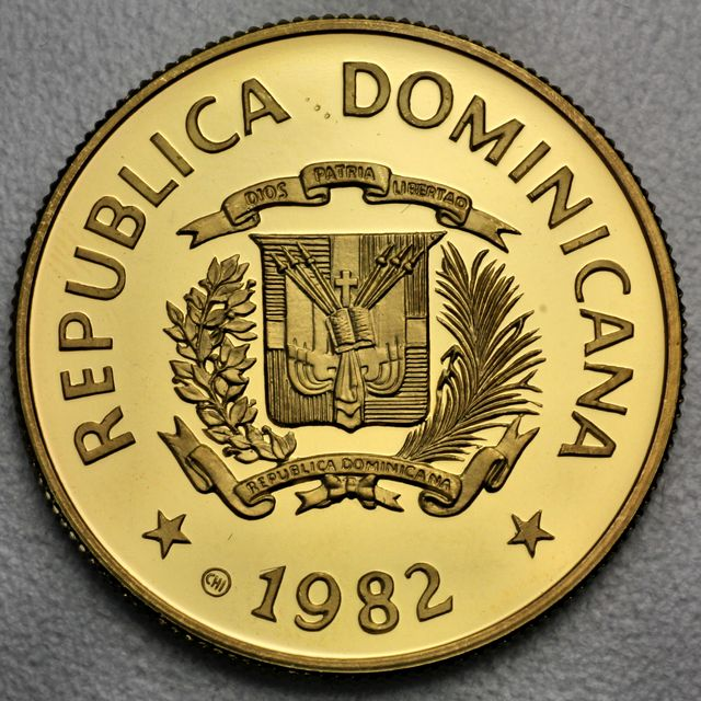 200 Pesos Goldmünze Dominikanische Republik 1982